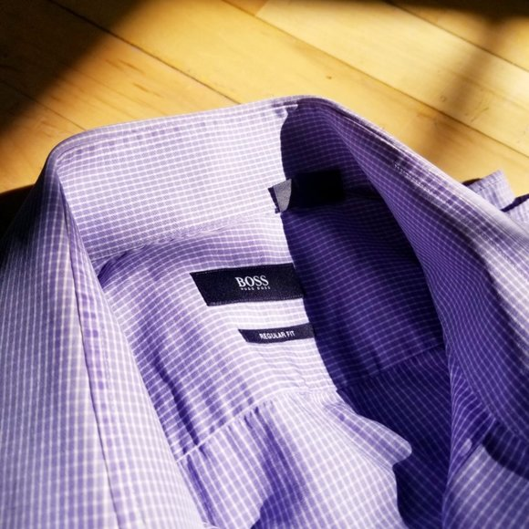 Hugo Boss Purple/White Checked Men's Dress Shirt